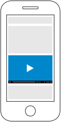 icon of a video on a phone